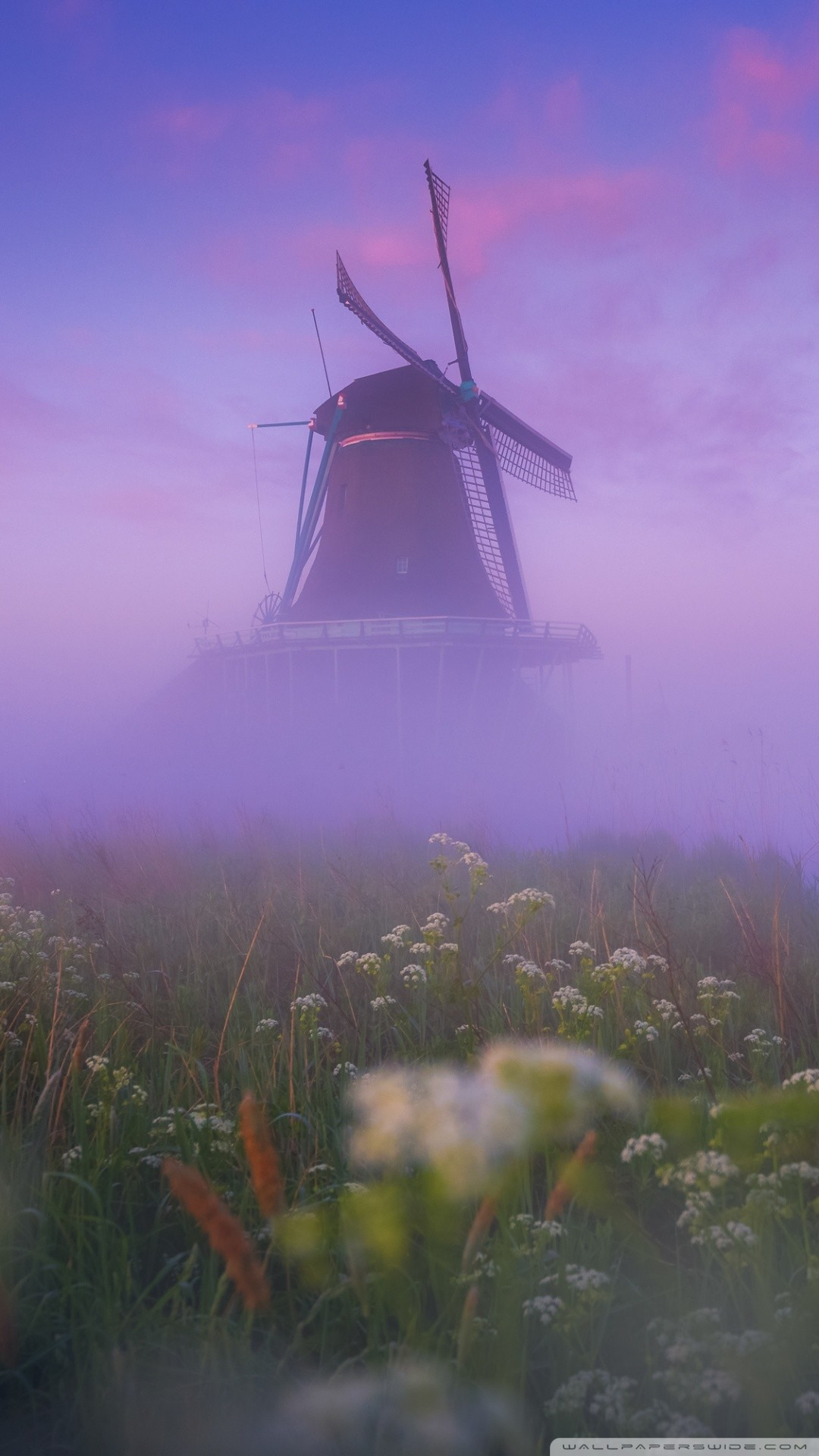 Free Netherlands Traditional Windmill Morning Mist phone wallpaper by ashleybaabyy