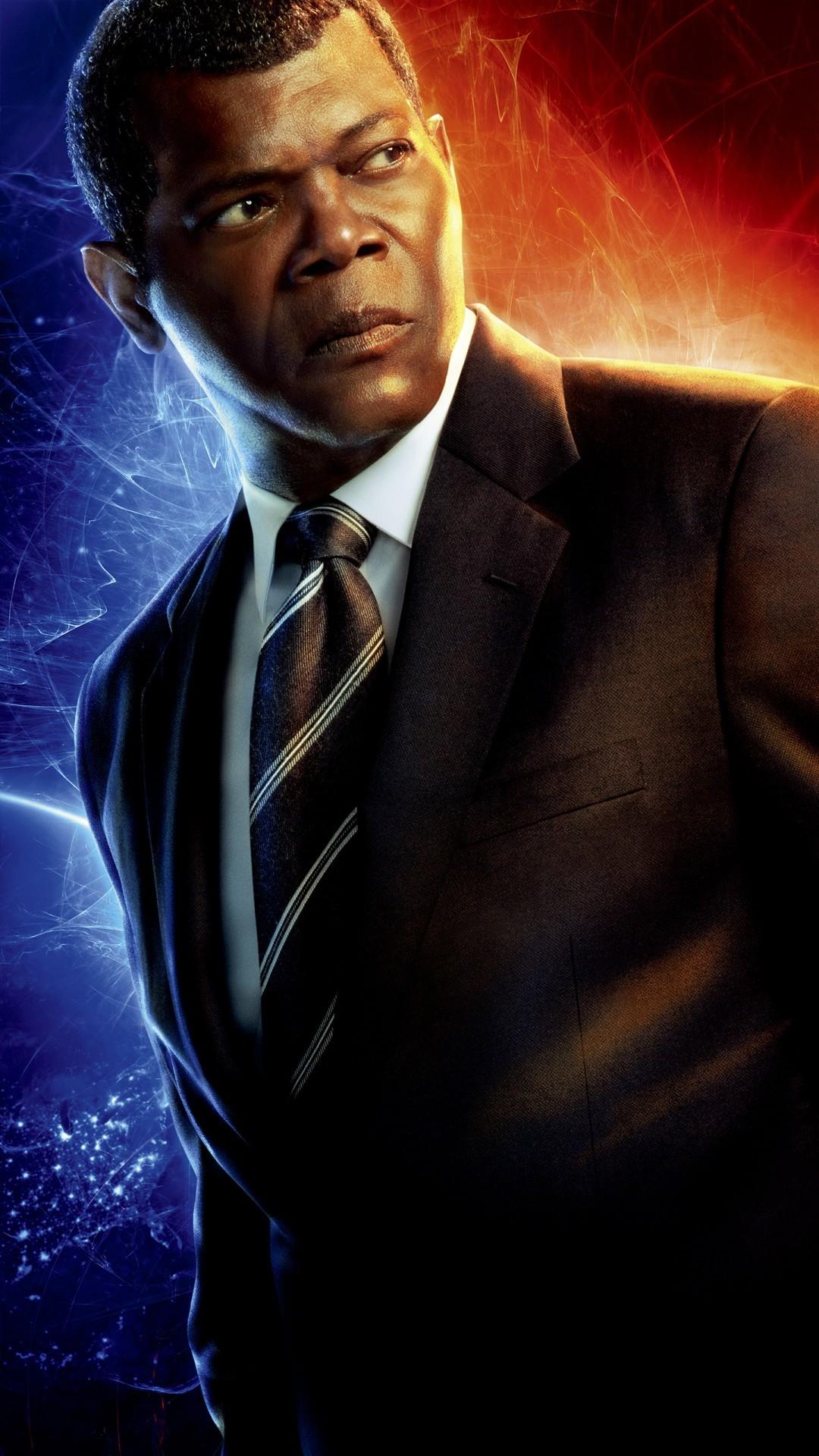 Free Samuel Jackson as Nick Fury in Captain Marvel phone wallpaper by angel03050822