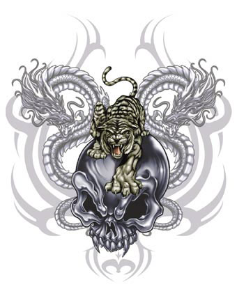 Free Vampire Skull w Tiger and Dragons.jpg phone wallpaper by cacique