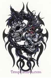 Free Images - Dragons - Black Dragon With Double Skulls.jpg phone wallpaper by cacique
