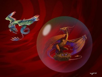 Free 2 Dragons-One Inside A Crystal Ball.jpg phone wallpaper by cacique