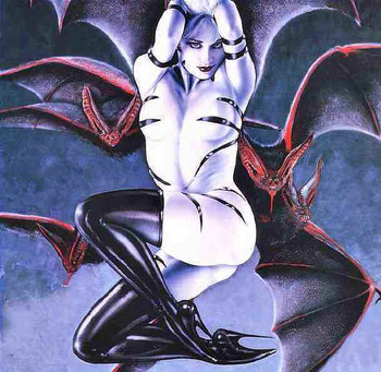Free Gothic Wicked Fantasy Erotic Art PinUp - Girl with Bats.jpg phone wallpaper by cacique