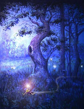 Free (Graphic - Artistic) The Fairies Tree - Fantasy Art - Blue Shaded.jpg phone wallpaper by cacique