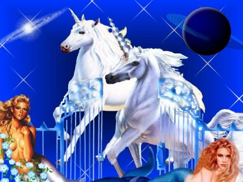 Free Unicorn Pics-3D unicorns at gates with mermaids- fantasy mythology 3D wallpaper.jpg phone wallpaper by cacique