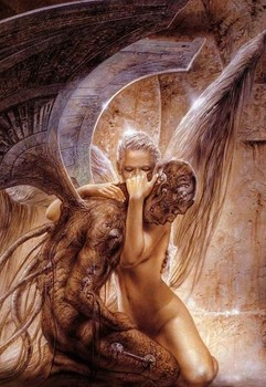 Free Luis Royo - Fantasy Art - Gothic Angel Holding Demon.jpg phone wallpaper by cacique