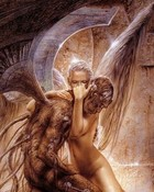 Luis Royo - Fantasy Art - Gothic Angel Holding Demon.jpg