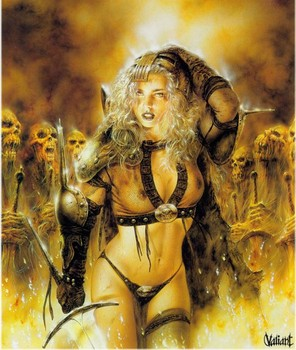 Free Luis Royo Fantasy warrior girl and skulls.jpg phone wallpaper by cacique