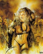 Luis Royo Fantasy warrior girl and skulls.jpg