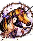 Unicorns - Indian Faerie and Dark Unicorn.jpg.jpg wallpaper 1