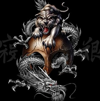 Free ART - DRAGONS - Chinese Mythology - Dragon and Panther.jpg phone wallpaper by cacique